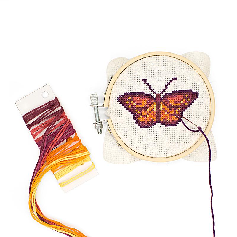 Butterfly Mini Cross Stitch Embroidery Kit (Kikkerland)