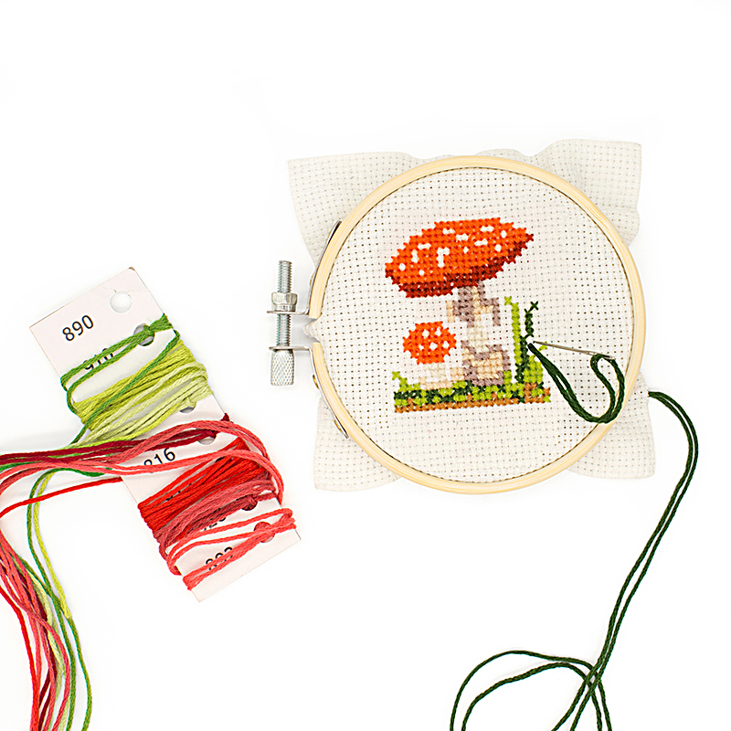 Mushroom Mini Cross Stitch Embroidery Kit (Kikkerland)