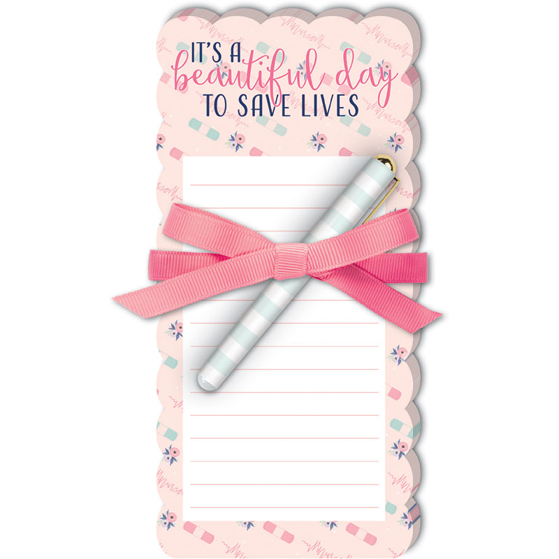 Diecut Notepad w/Pen Nurse Patt