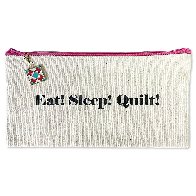 Eat Sleep Quilt Zipper Bag