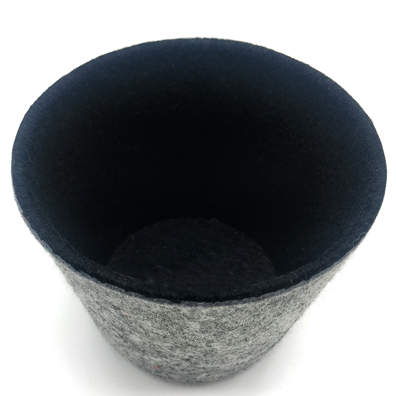 Felt Storage Bin Round Bucket Black