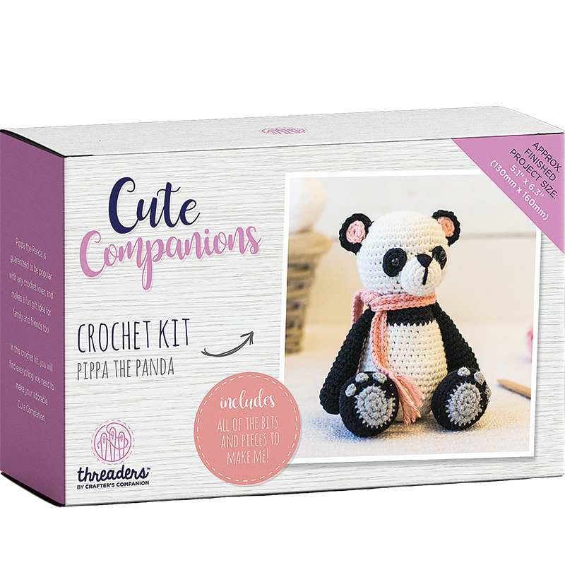 Cute Companions Crochet Kit Pippa The Panda, 5 x 6.25