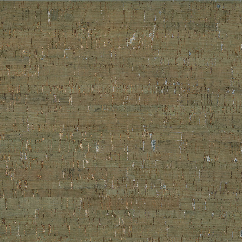 Cork Blend Fabric 18 x 15 - Green/Silver (Metallic)