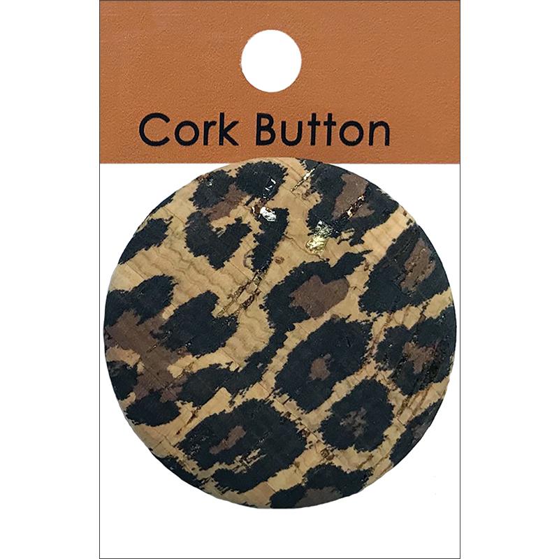 Belagio Cork Covered Button 2 Leopard