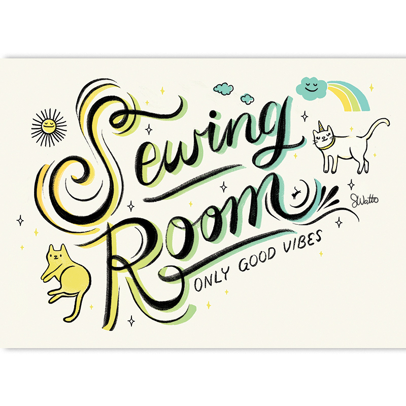 Sewing Room by Sarah Watts of Craftedmoon Art Print 5x7