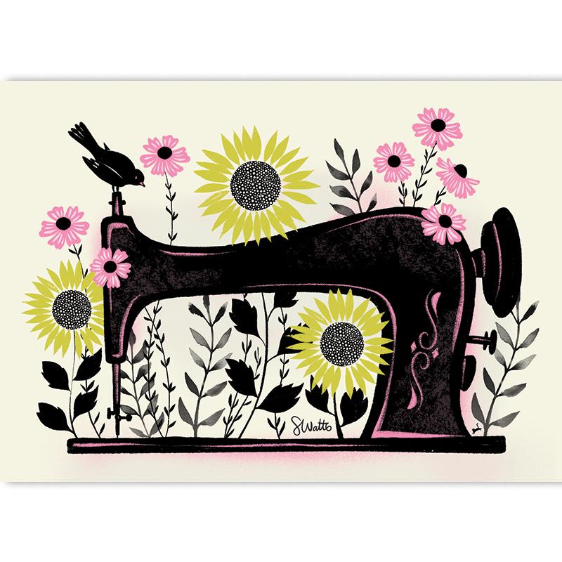 Garden Sewing by Sarah Watts of Craftedmoon Art Print 5x7