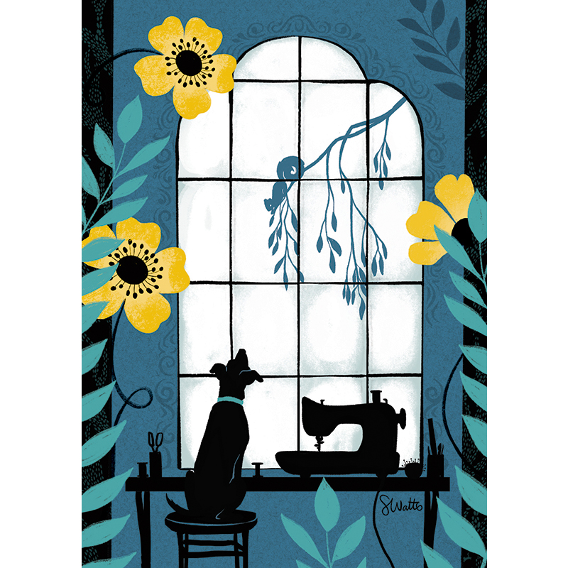 Art Prints 5x7 Window Pup with frame