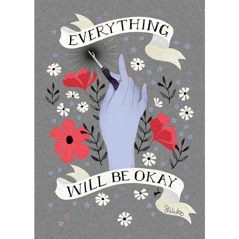 Craftedmoon 'Everything Will Be Okay' Art Print - 5in x 7in