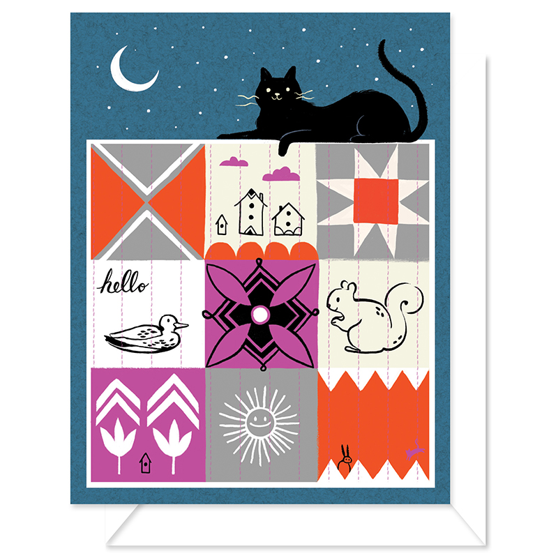 Blank Card Cat Quilt