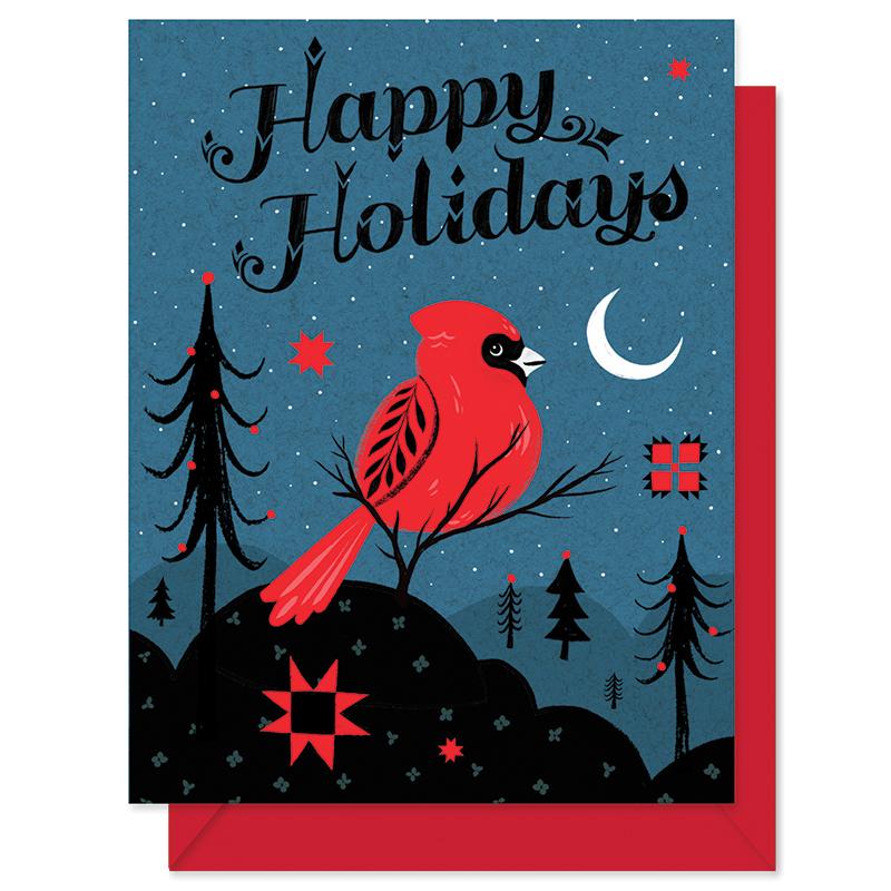 Happy Holidays Cardinal Greeting Card