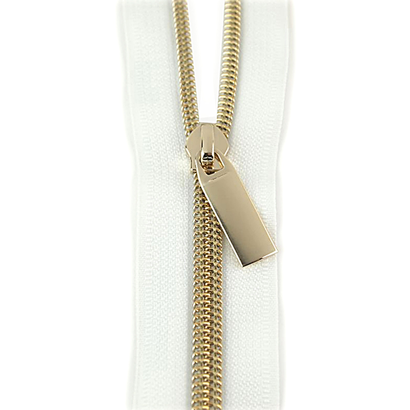 Zippers by the Yard White Tape Gold Teeth #5