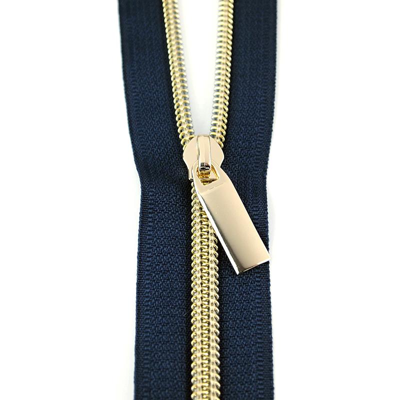 Zipper Navy/Gold 9 Pulls/3yds