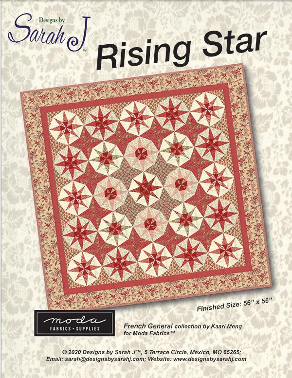 DSJ 2077 Rising Star Quilt Pattern - 56x56