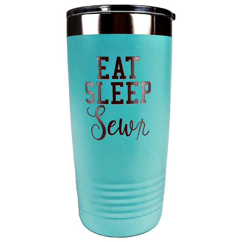 Tumbler Teal Eat Sleep Sew