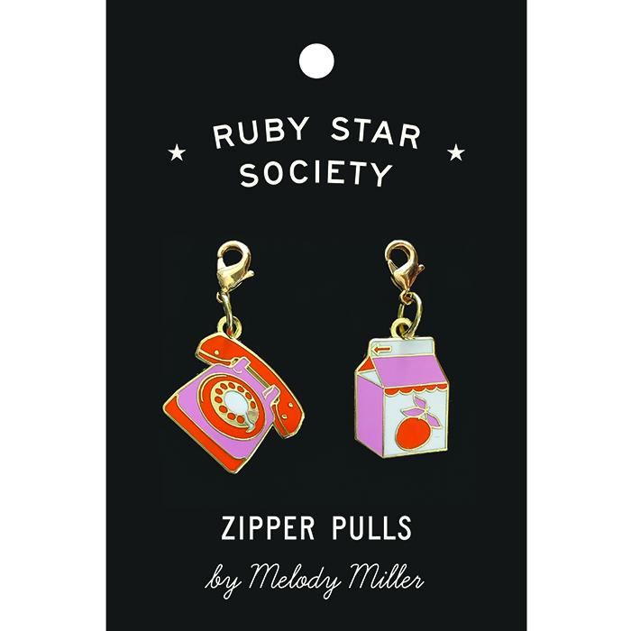 Telephone & Juice Carton Zipper Pulls 2