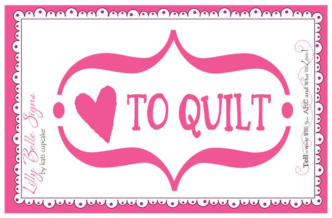 Lilly Belle Love To Quilt Decal