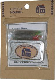 Little House Glass Head Pins in Tin- 100 Count