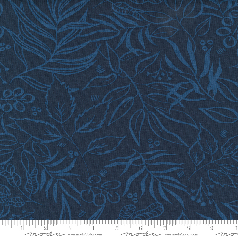 Moody Bloom by Create Joy Project - Teal Knit Fabric