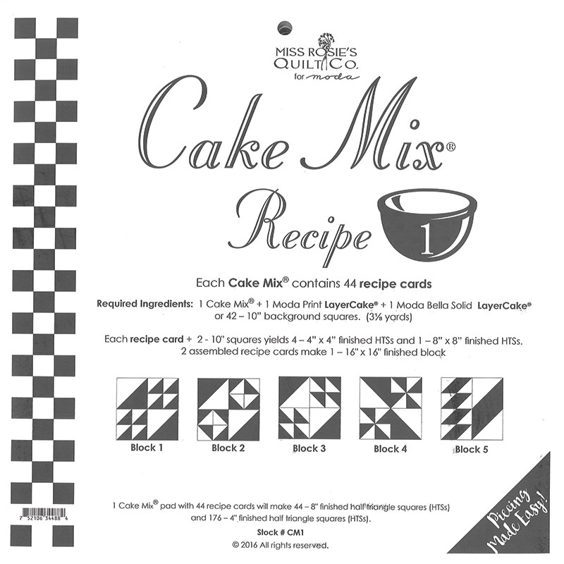 Cake Mix Recipe 1 by Miss Rosie's Quilt Co CM1
