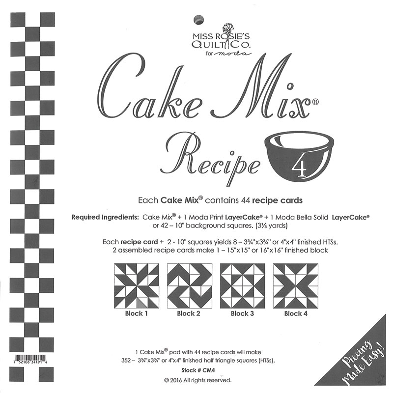 Cake Mix Recipe CM4 44 ct