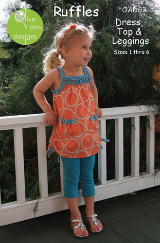 Ruffles Children's Pattern: Dress - Top - Leggings Size 1-6