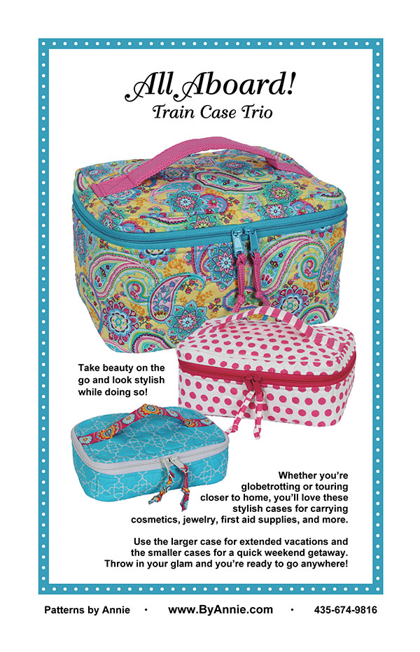 All Aboard Train Case Trio Pattern