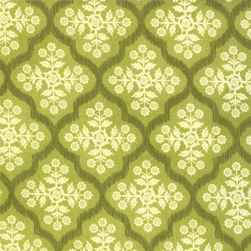 Hello Luscouis- Basic GreyGreen bkgd- dk Green lattice- Cream floral