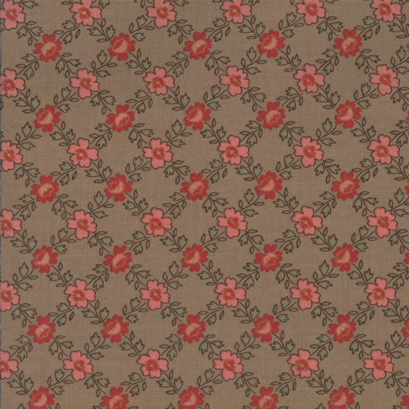 Josephine Antique Tan pink and red flowers on tan