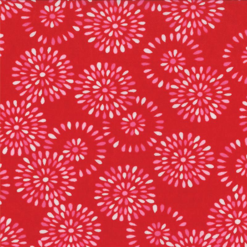 Surrounded By Love Red Petal Burst 1 yd