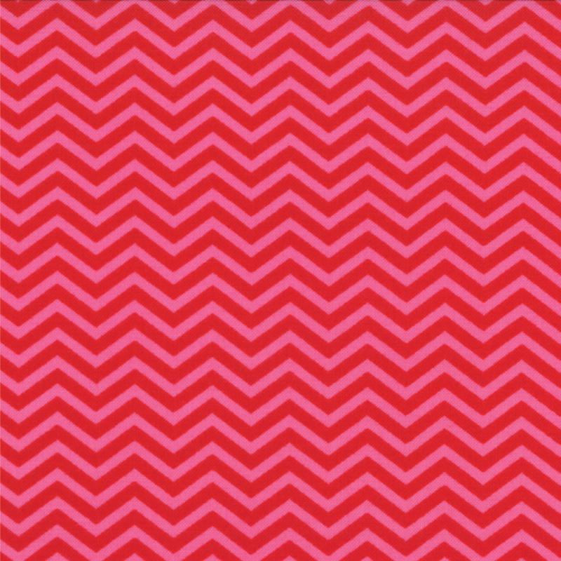 Surrounded By Love Red Pink Chevron 1/2 yd