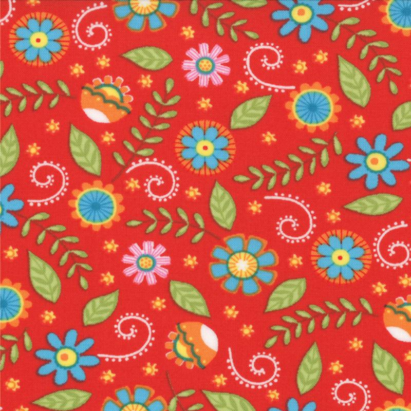 BLOOMIN FRESH FLORAL ON RED 1966412 Moda