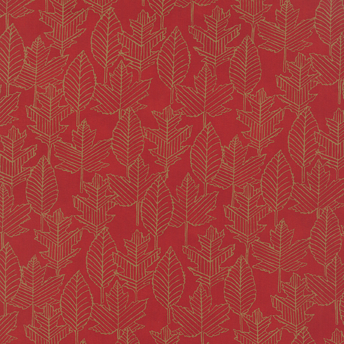 WELCOME FALL 1864 19775-14 BERRY RED WITH LEAVES GEO PATTERN GOLD