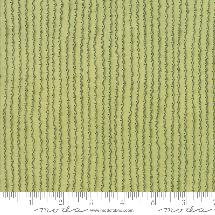 Wavy Stripes on Light Mossy Green: Garden Notes by Kathy Schmitz for Moda