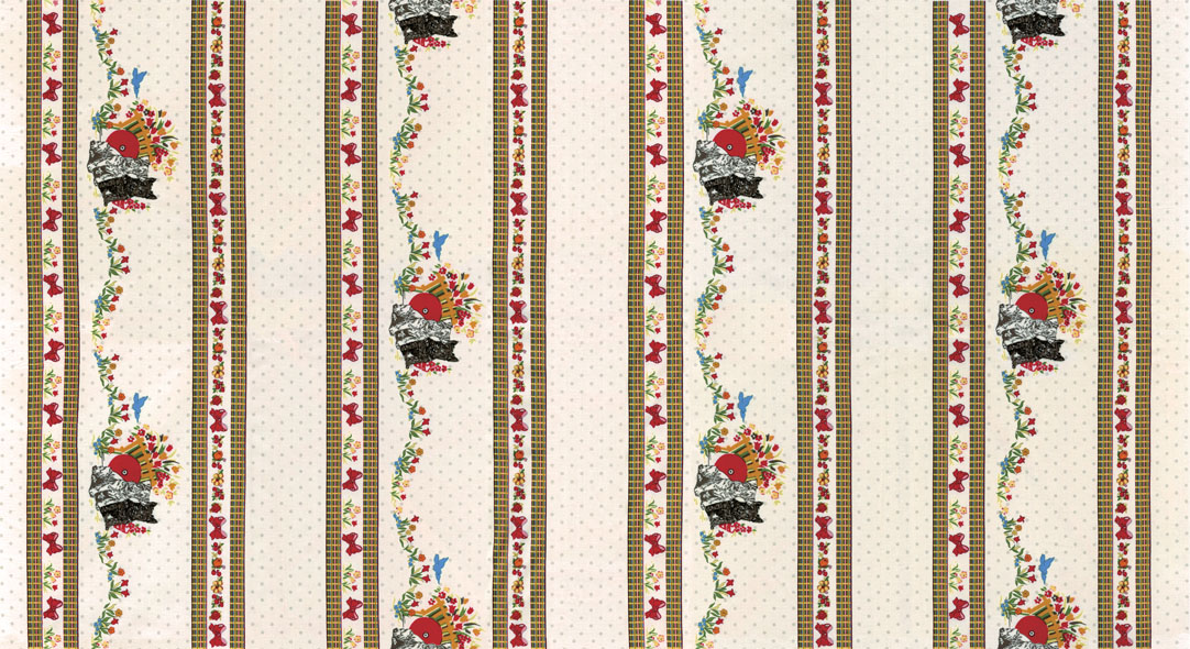 Thirties: Dogs with Spring Flowers in Wide Stripe on Cream: Spring a Ling by American Jane for Moda
