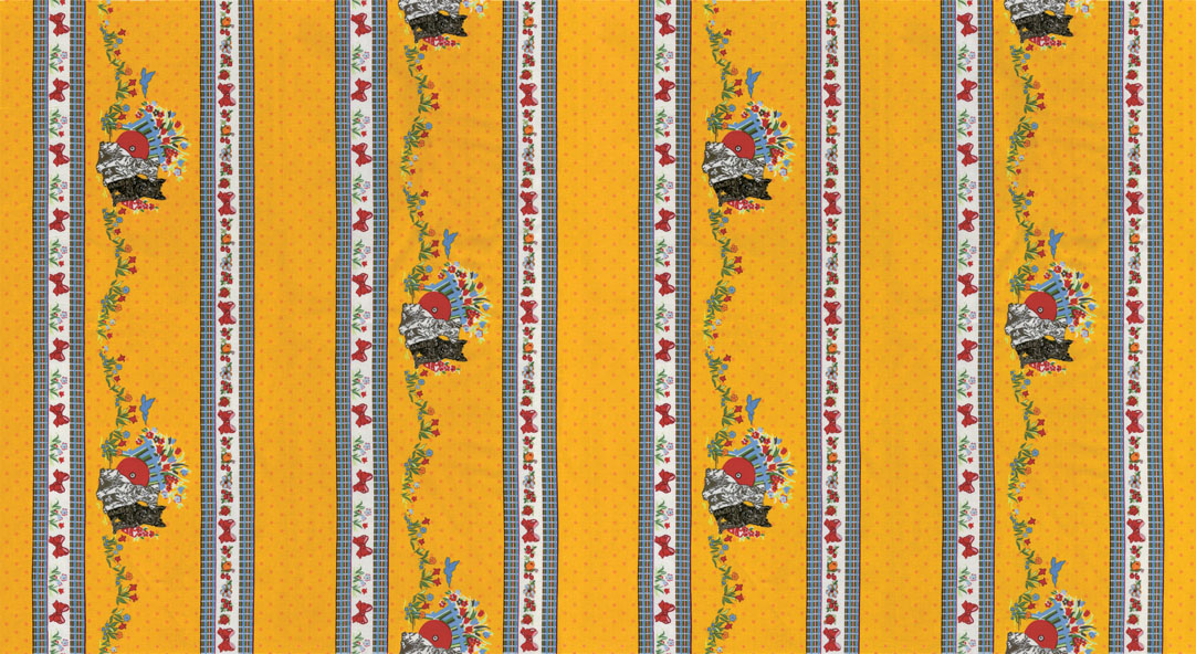 Thirties: Dogs with Spring Flowers in Wide Stripe on Gold: Spring a Ling by American Jane for Moda
