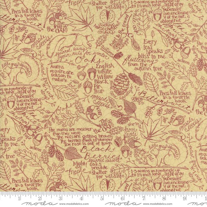 Fabric Moda Oak Grove Lane Ivory Cranberry