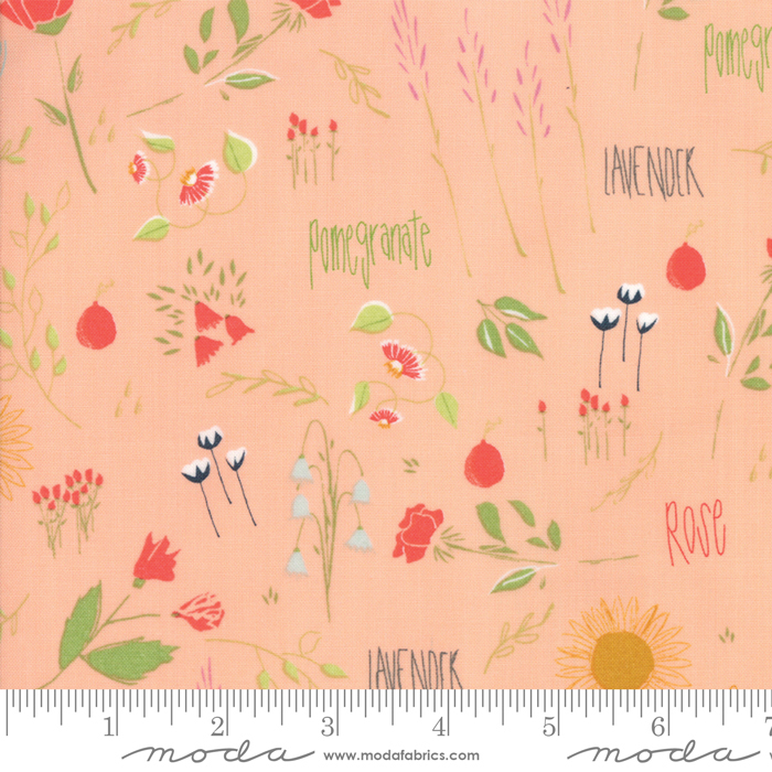 MODA- The Front Porch Peach Floral Scatter w/Text