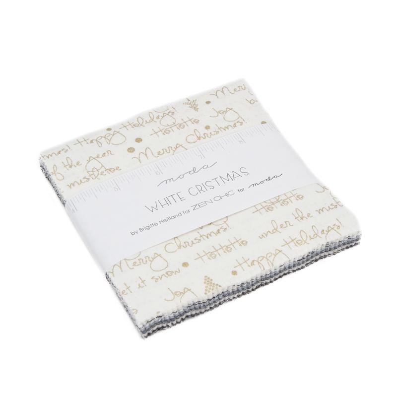 Item#11048.C - White Christmas Metallic Charm Packs - Moda - Zen Chic