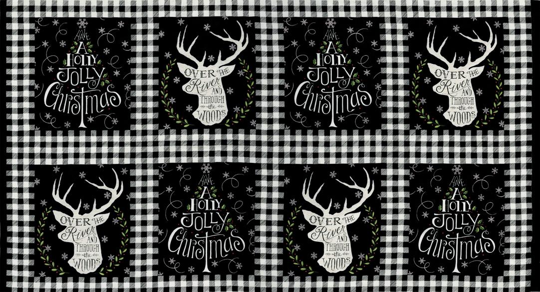 Moda Hearthside Holiday Charcoal Black Panel