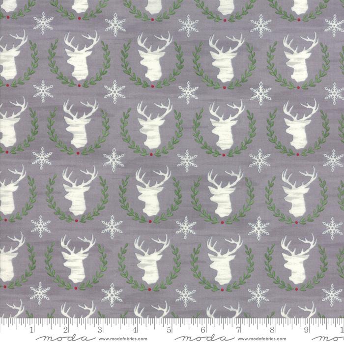 Hearthside Holiday Slate Grey Laurel Deer by Deb Strain for Moda 19832-12