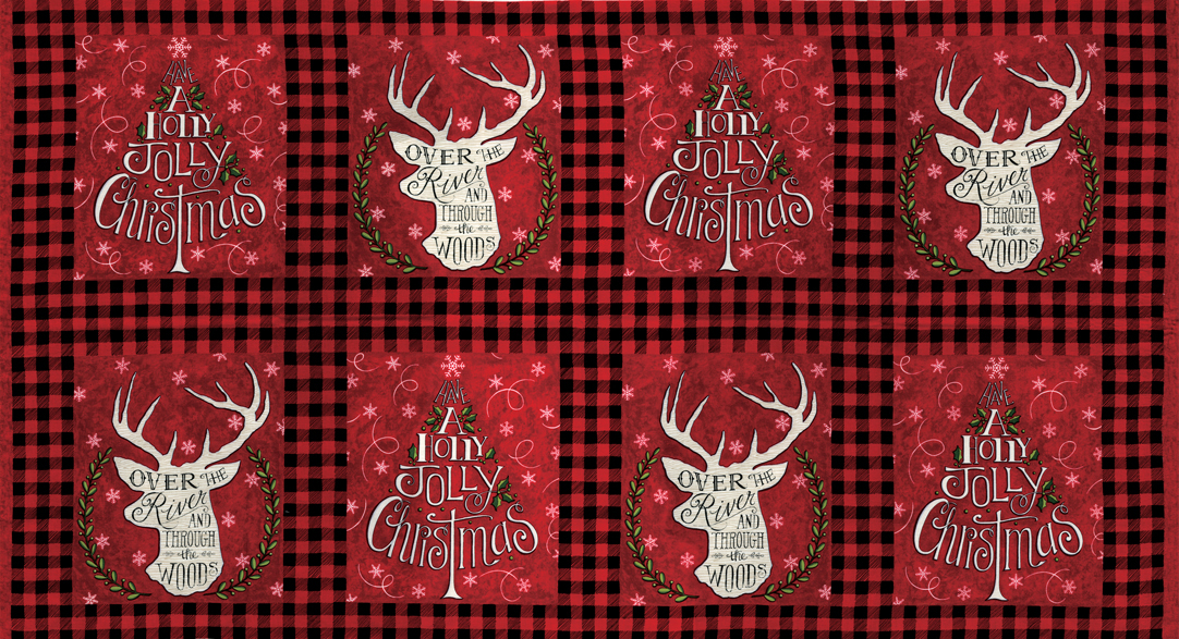 Moda Hearthside Holiday Flannel Panel Berry Red
