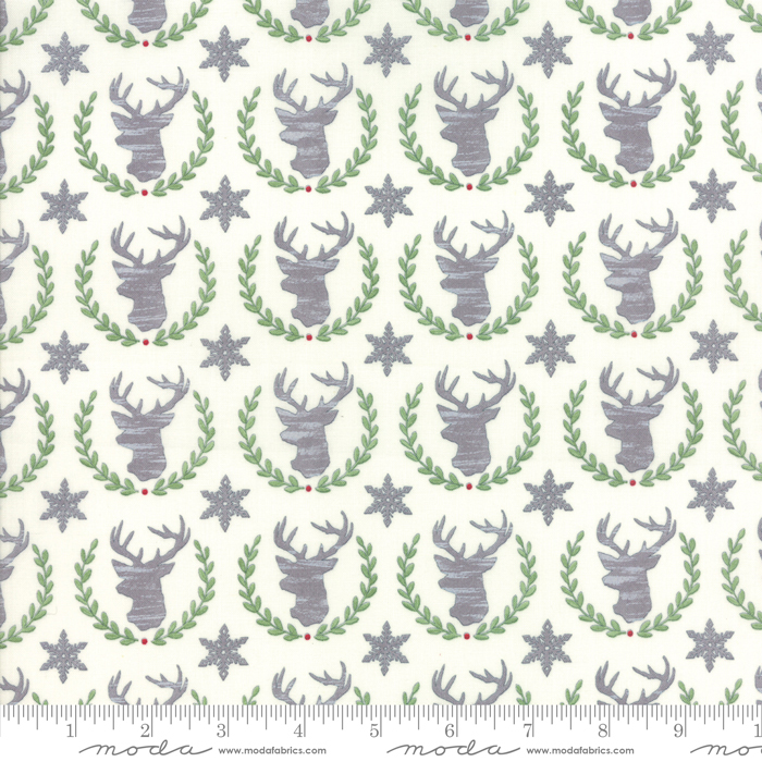 Moda Hearthside Holiday Brushed 19832-11B Snowy White Deer Heads