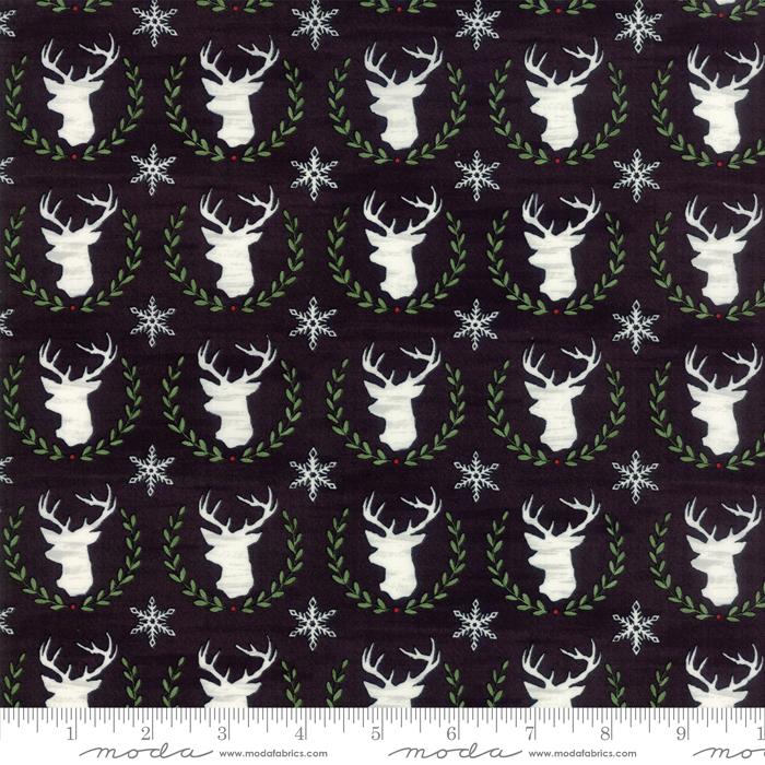 Moda Hearthside Holiday Brushed 19832-13B Charcoal Black Deer Heads