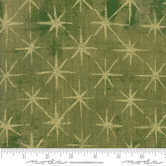 Seeing Stars Olive Stars Gold Stars on Green Grunge