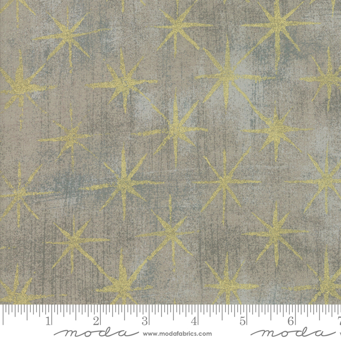 Seeing Stars Metallic Gray Coutur : Grunge Basics for Moda Fabrics