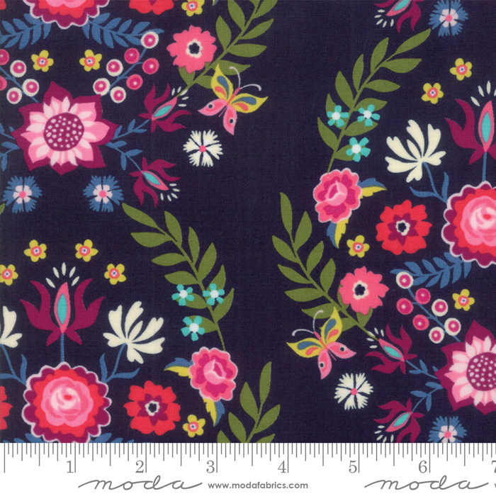Rosa- Navy with Large Floral