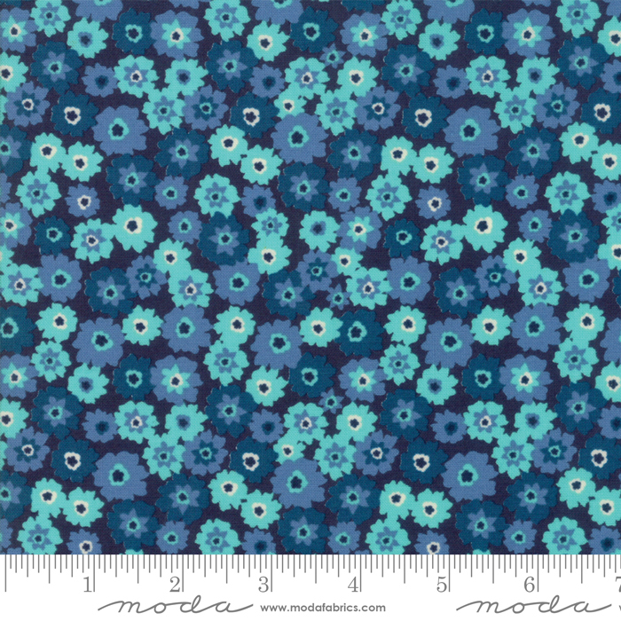Rosa- Navy Blue with Small Teal flowers