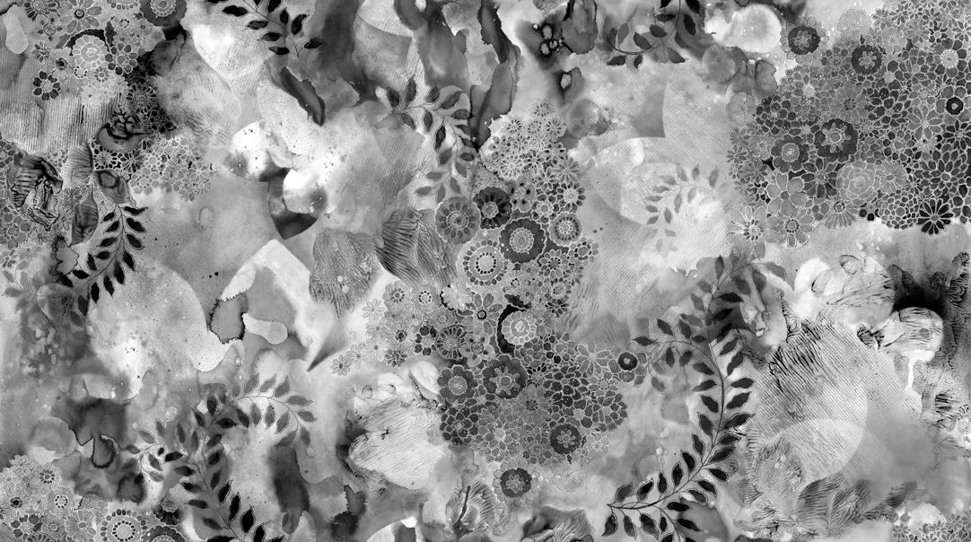 Gradients II Onyx (B & W) Digital, Watercolor Sketchbook Garden, Moda