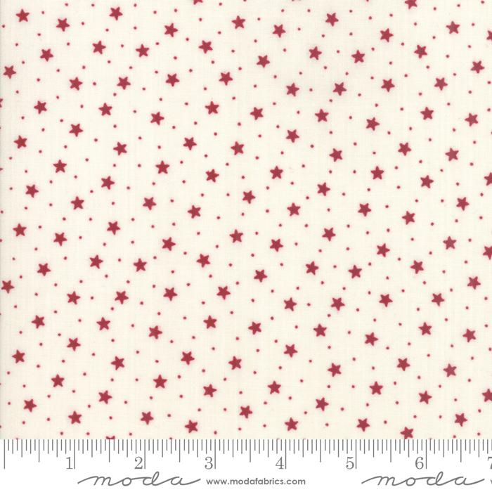 1262 11 Star Stripe Gath Ivory Red