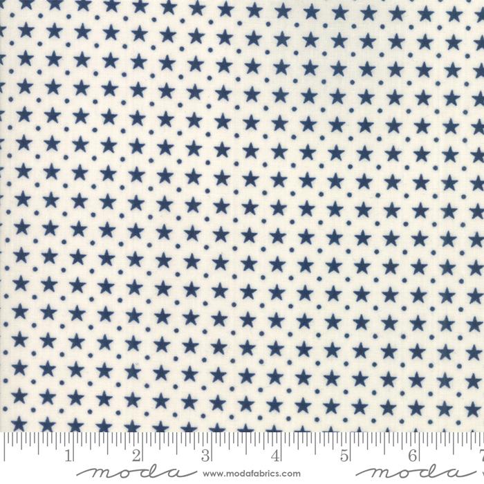 Star Stripe Gath Ivory Blue